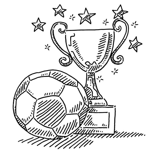 Soccer Ball And Trophy Drawing Hand-drawn vector drawing of a Soccer Ball And a Trophy. Black-and-White sketch on a transparent background (.eps-file). Included files are EPS (v10) and Hi-Res JPG. sport stock illustrations