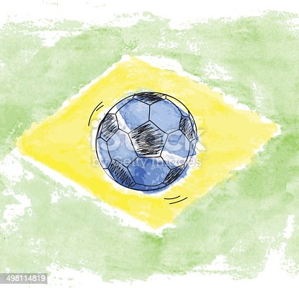 istock Soccer ball and watercolor flag of Brazil 498114819