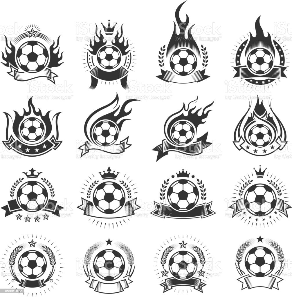 Soccer Ball Badges black and white royalty-free vector icon set royalty-free stock vector art