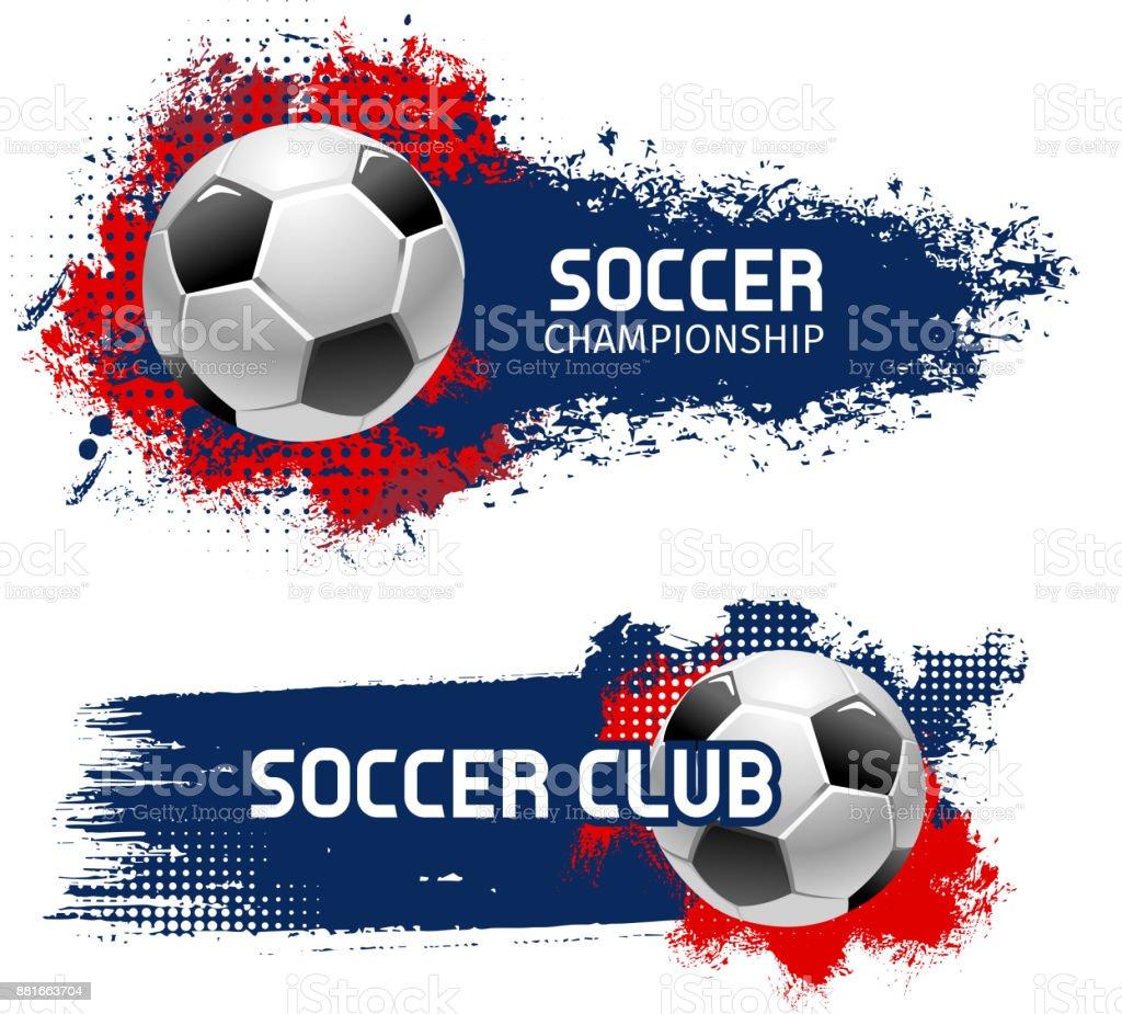 Soccer ball bannière, football sport jeu scénographie - Illustration vectorielle