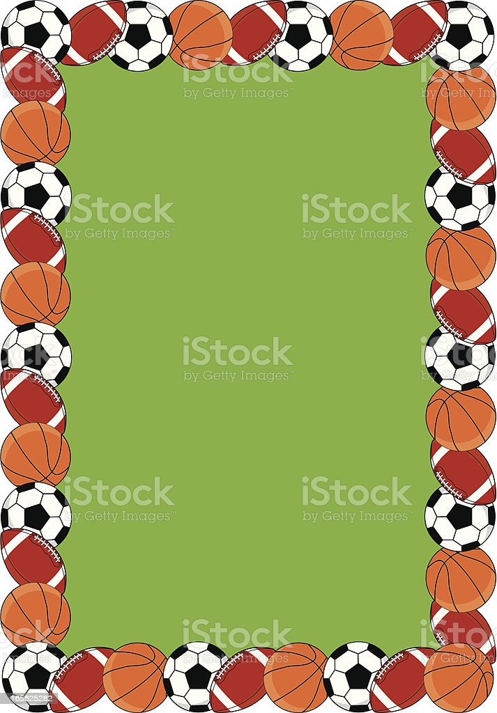 soccer ball basketball american football border stock vector art rh istockphoto com football field border clip art