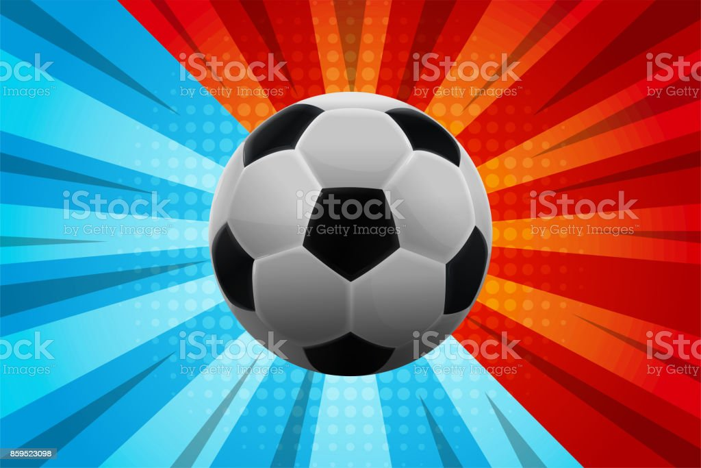 Soccer Ball Schwarz Weiss Auf Blau Und Rot Comicabstrakten