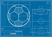 A vector illustration of a soccer ball blueprint.  This is a vector file and this image can be enlarged to any size without distortion or loss of quality.