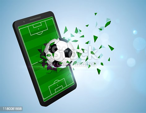 istock Soccer ball breaking smartphone 1180081858