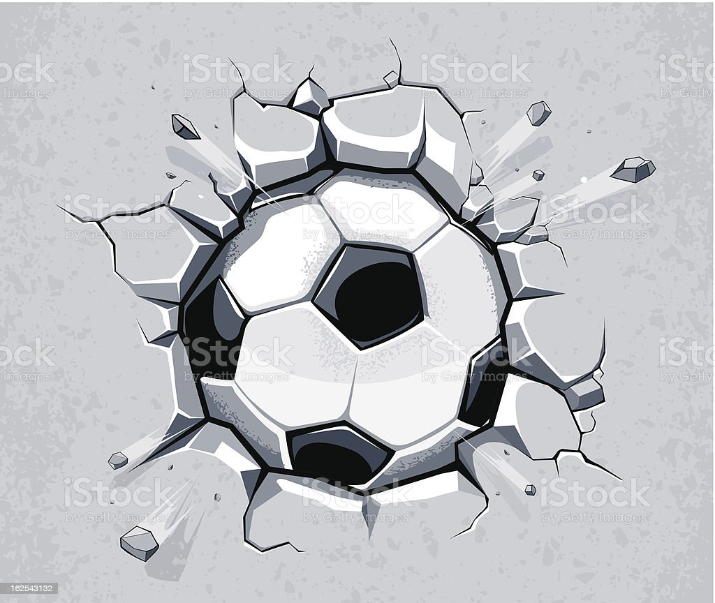 Soccer ball breaking the wall vector art illustration