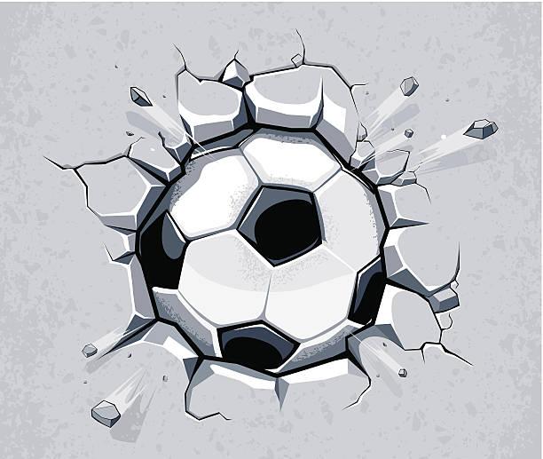 soccer ball gegen die wand - fußballkunst stock-grafiken, -clipart, -cartoons und -symbole