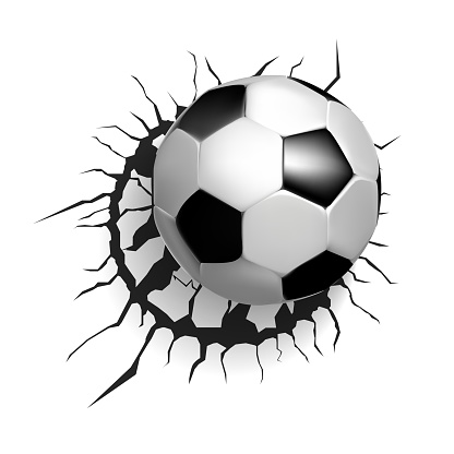 soccer ball breaking the wall, vector illustration