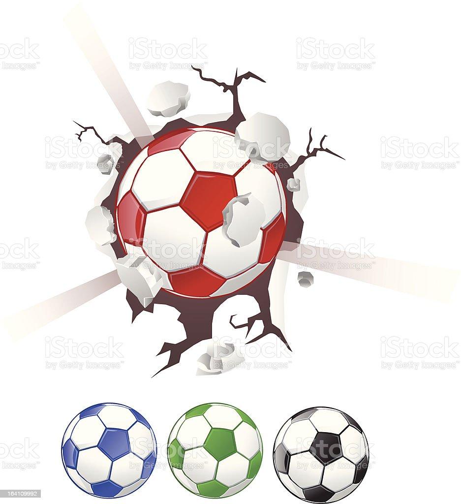 Soccer Ball Breaking Through Wall royalty-free stock vector art