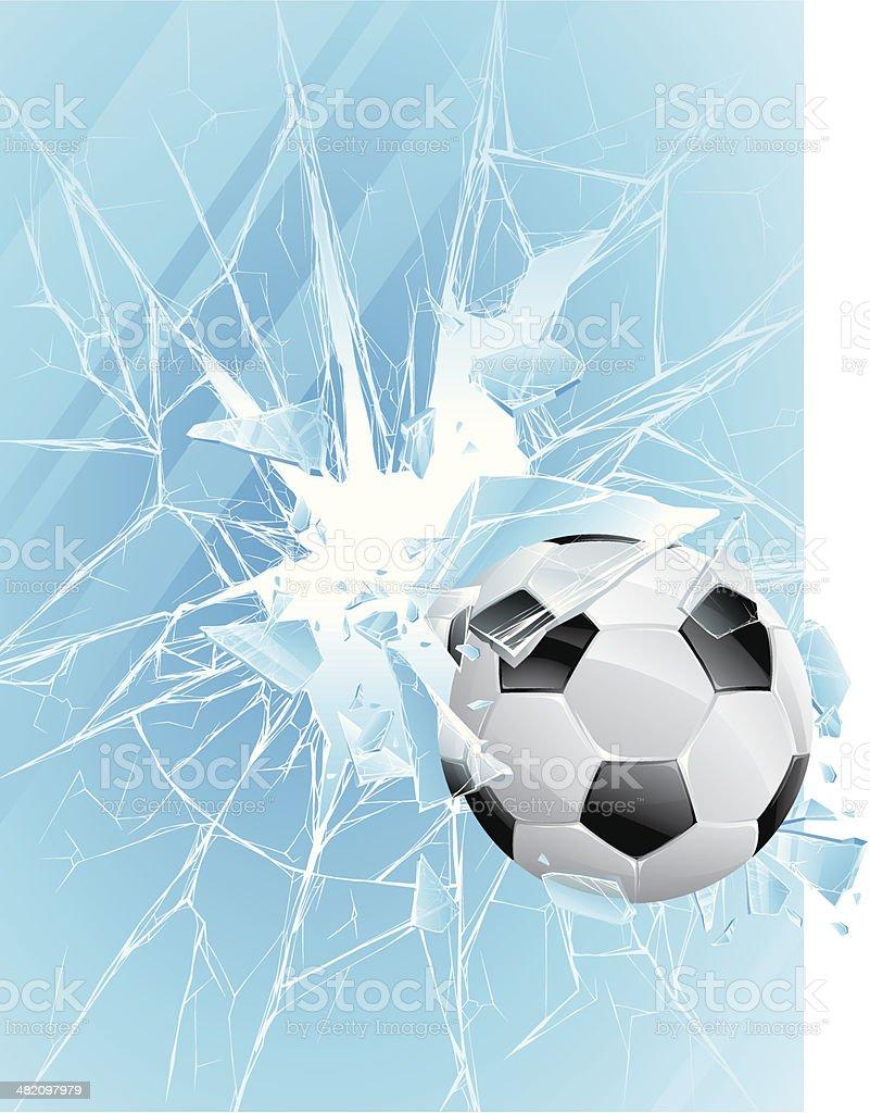 Soccer ball & broken glass royalty-free stock vector art