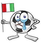 soccer ball cartoon with italian flag