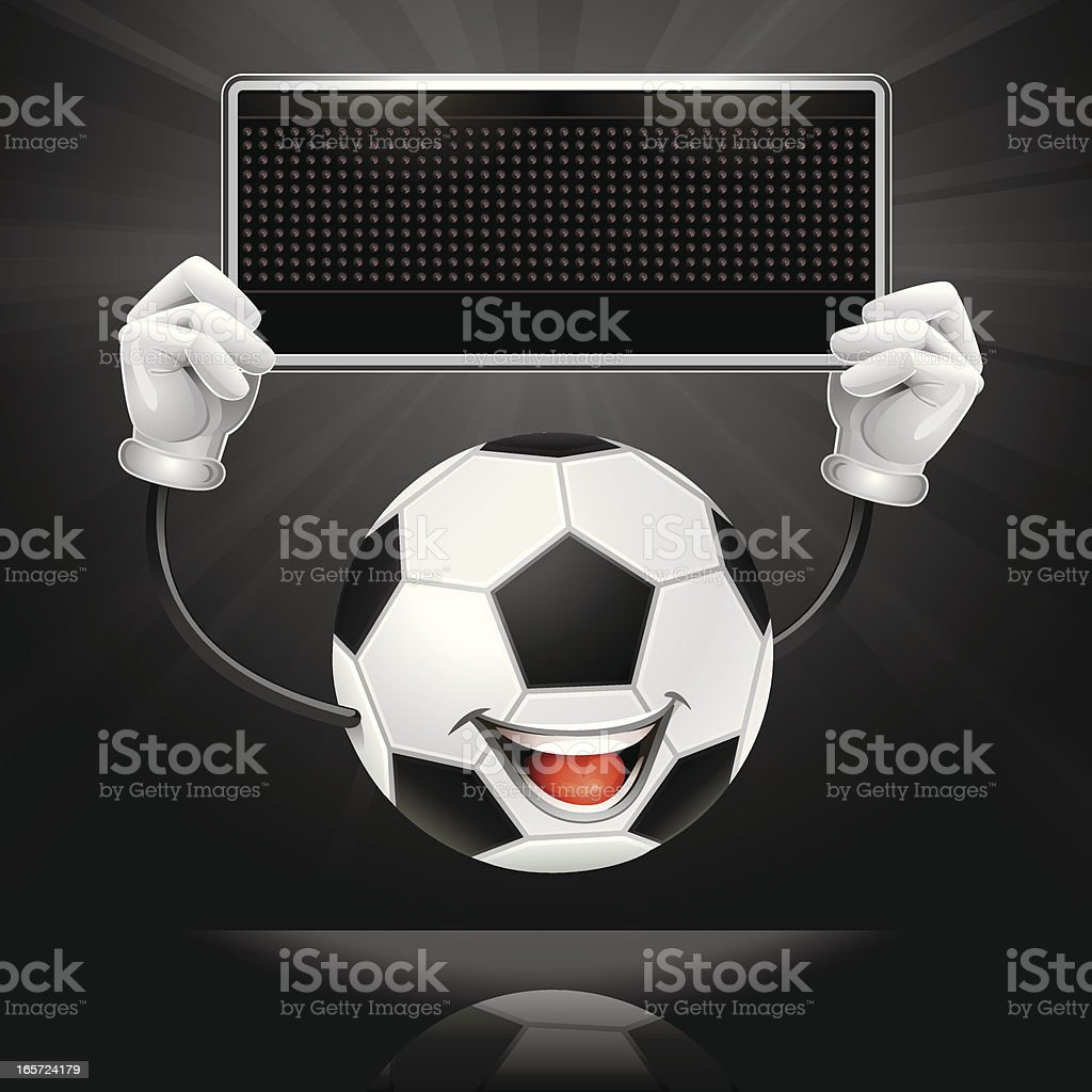 Soccer Ball Character holding an LED Display / black Sign royalty-free soccer ball character holding an led display black sign stock vector art & more images of backgrounds