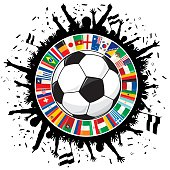 Soccer Ball, Cheering Fans, Circle of Flags Soccer Championship 2014