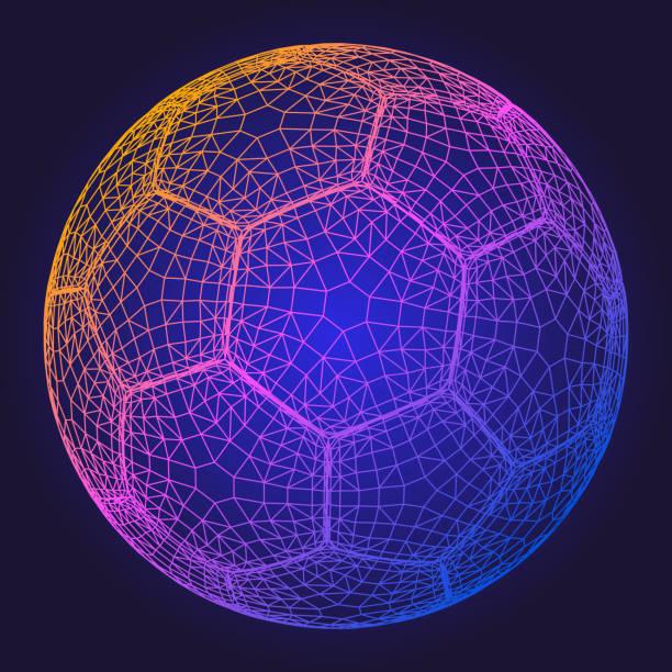 Soccer ball colorful wireframe grid vector illustration vector art illustration