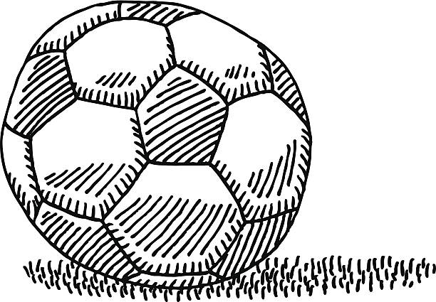 Soccer Ball Drawing Hand-drawn vector drawing of a Soccer Ball. Black-and-White sketch on a transparent background (.eps-file). Included files are EPS (v10) and Hi-Res JPG. soccer stock illustrations