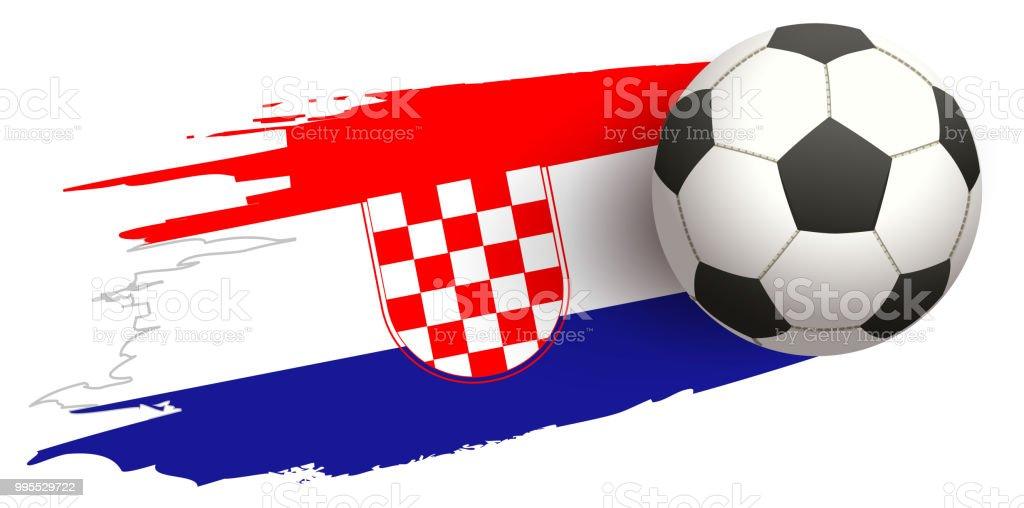 Futbol bola vuela sobre fondo de bandera croata - ilustración de arte vectorial
