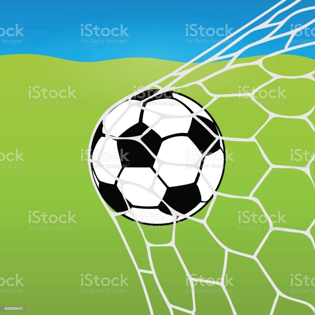 Soccer Ball Ins Netz Ball Im Tor Vor Dem Hintergrund Einer