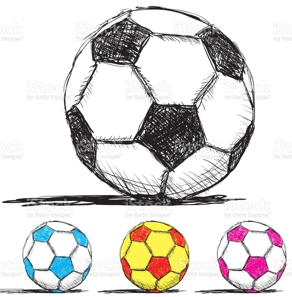 Bola de futebol feita à mão uma caneta e tinta estilo - ilustração de arte em vetor