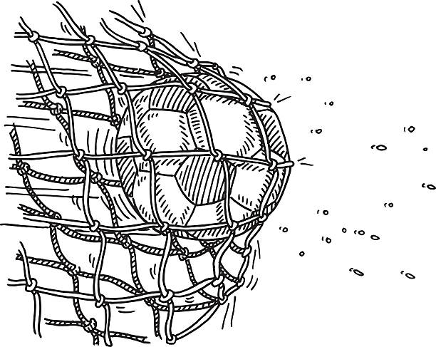 Soccer Ball Goal Net Scoring Drawing Hand-drawn vector drawing of a Soccer Ball hitting the Goal Net, High Speed Image of Scoring in a Soccer Game. Black-and-White sketch on a transparent background (.eps-file). Included files are EPS (v10) and Hi-Res JPG. soccer stock illustrations