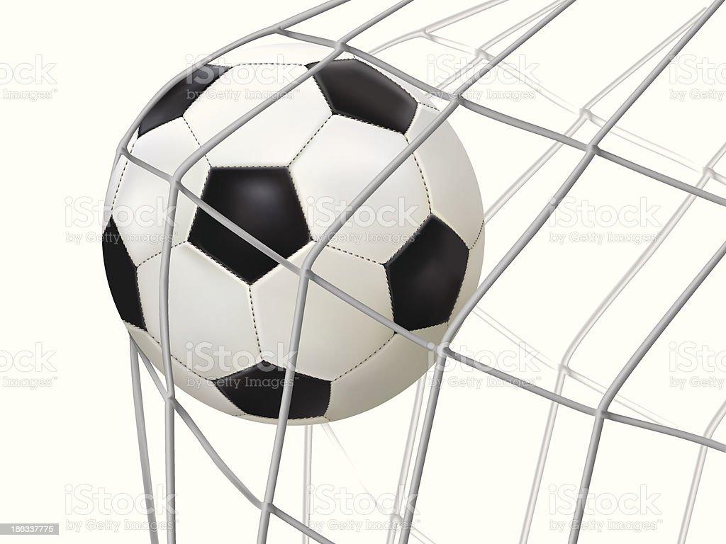 soccer ball hitting on net. royalty-free stock vector art