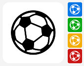Soccer Ball Icon. This 100% royalty free vector illustration features the main icon pictured in black inside a white square. The alternative color options in blue, green, yellow and red are on the right of the icon and are arranged in a vertical column.