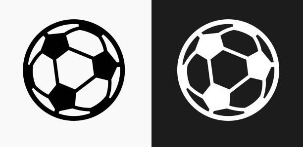 bildbanksillustrationer, clip art samt tecknat material och ikoner med fotboll bollen ikonen på svart och vit vektor bakgrunder - fotboll