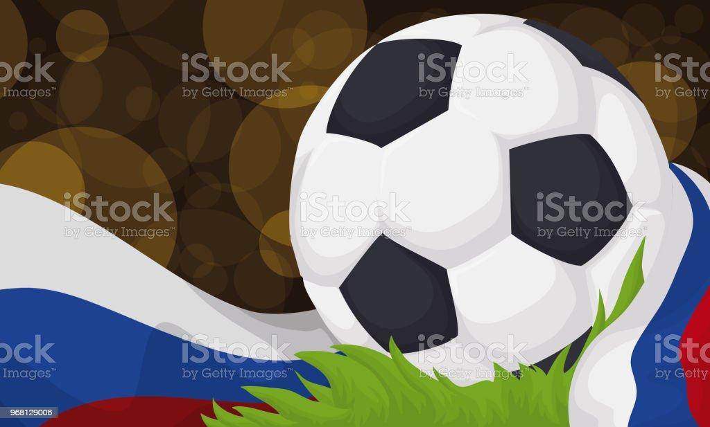 1d640c7b6 Jogo de bola de futebol em um campo de futebol durante a noite de futebol  vetor
