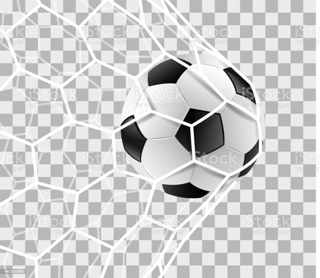 Voetbal op de achtergrond van een doel netto geïsoleerd - Royalty-free Activiteit vectorkunst