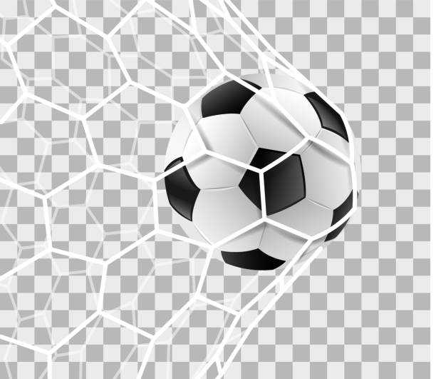 Soccer ball in a goal net isolated background vector art illustration