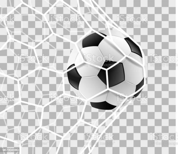 Voetbal Op De Achtergrond Van Een Doel Netto Geïsoleerd Stockvectorkunst en meer beelden van Activiteit