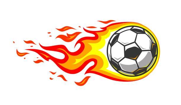 Soccer ball in burning fire flames vector art illustration