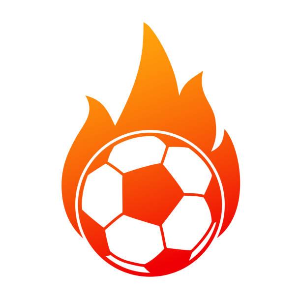 bildbanksillustrationer, clip art samt tecknat material och ikoner med fotboll i brand, fotboll ikonen – lager vektor - fotboll eld
