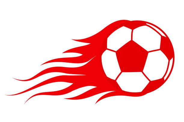 bildbanksillustrationer, clip art samt tecknat material och ikoner med fotboll i brand, heta fotboll match ikonen – vektor - fotboll eld