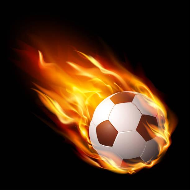 bildbanksillustrationer, clip art samt tecknat material och ikoner med fotboll i brand, heta fotbollsmatch – lager vektor - fotboll eld