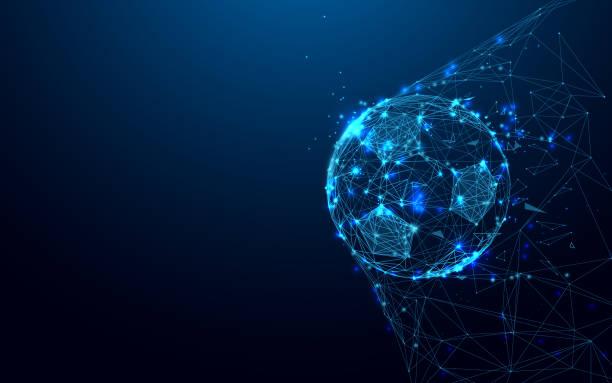 soccer ball im tor von linien und dreiecke, zeigen verbindende netzwerk auf blauem hintergrund. abbildung vektor - fußballkunst stock-grafiken, -clipart, -cartoons und -symbole