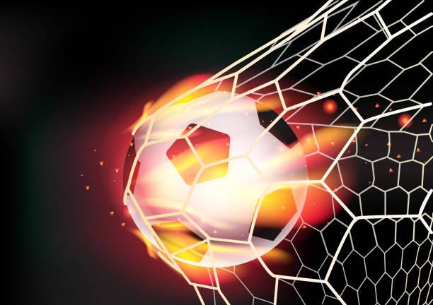 stockillustraties, clipart, cartoons en iconen met soccer ball in goal net on fire flames - soccer goal