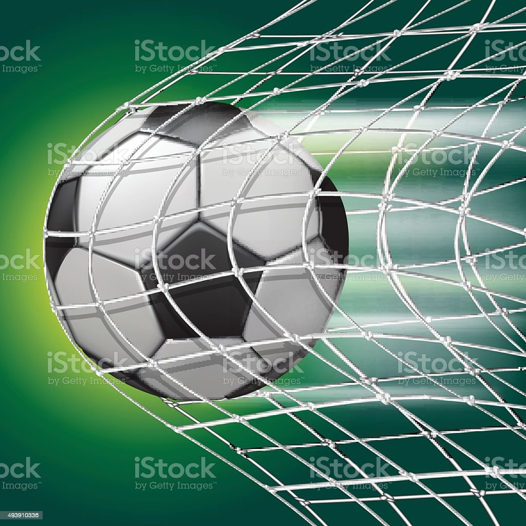 Soccer ball in goal net vector art illustration