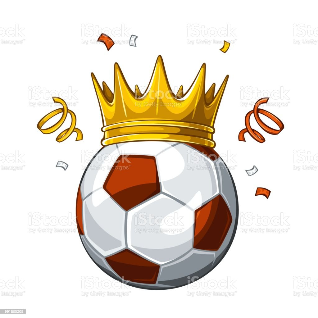 Vector colorful illustration of brown soccer ball in golden crown,...