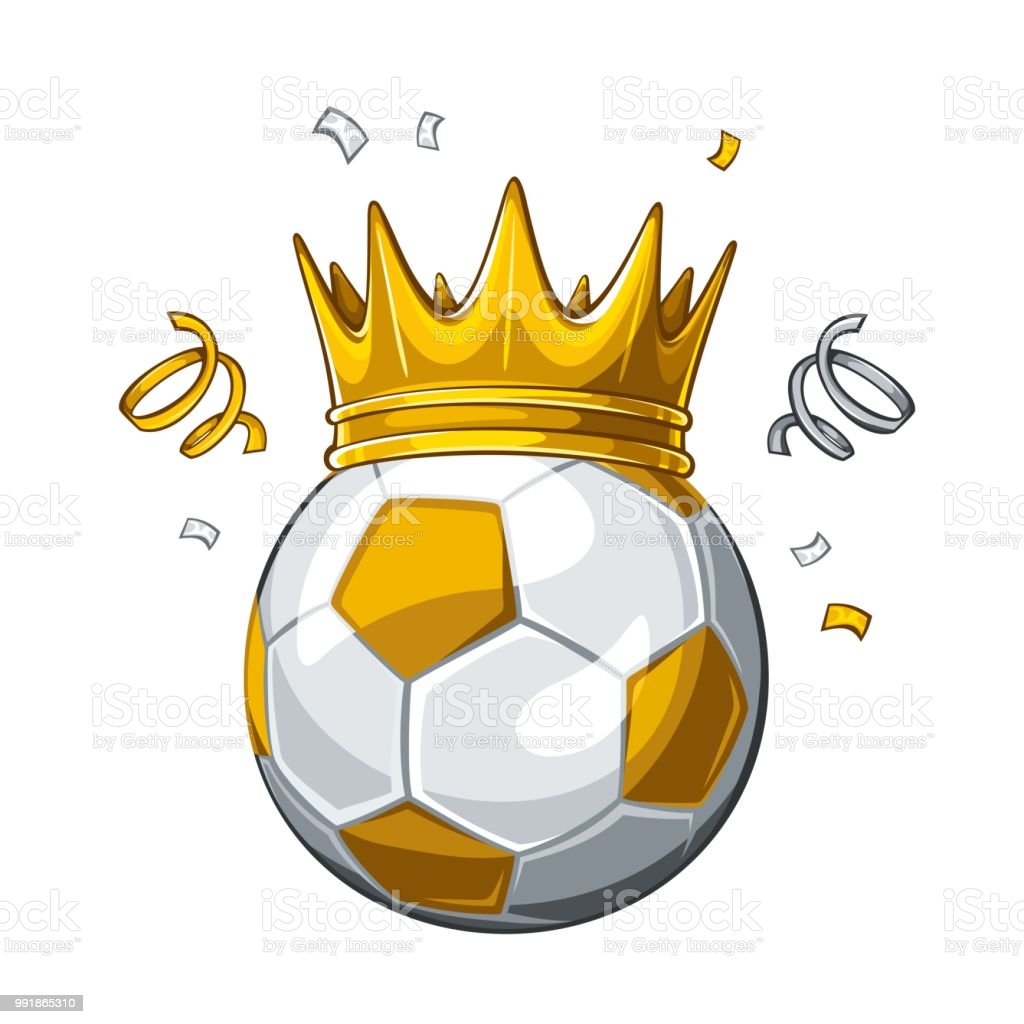 Vector colorful illustration of yellow soccer ball in golden crown,...