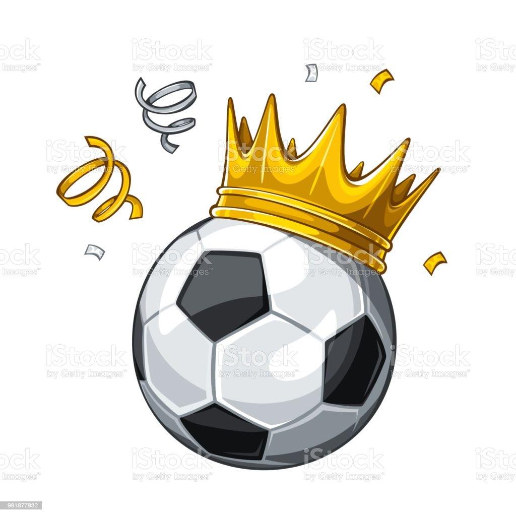 Fussball In Goldene Krone Mit Konfetti Isoliert Auf Weissem