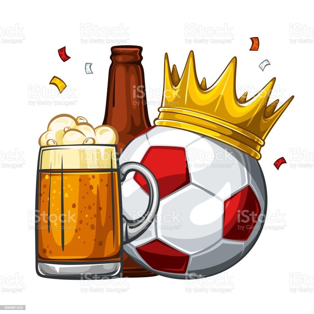 Fußball In Goldene Krone Mit Glas Bier Und Braunen Flasche Fußball ...