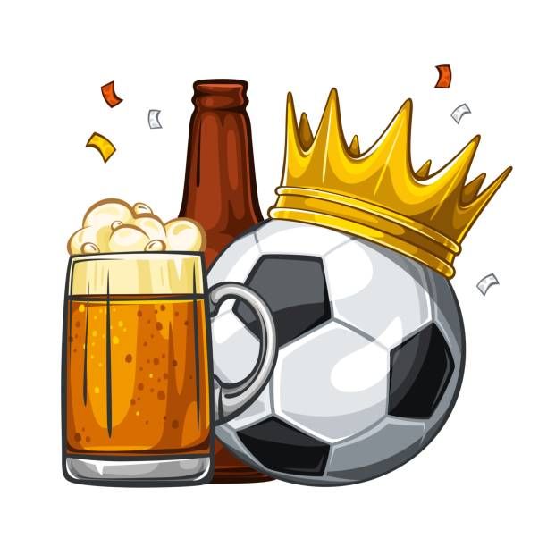 Soccer ball in golden crown with glass of beer and brown bottle. Football - sport game. Soccer champion 1.2 Vector colorful illustration of black soccer ball in golden crown with beer. Soccer ball with glass of beer with sausage and brown bottle. Champion 1.1 fan club stock illustrations