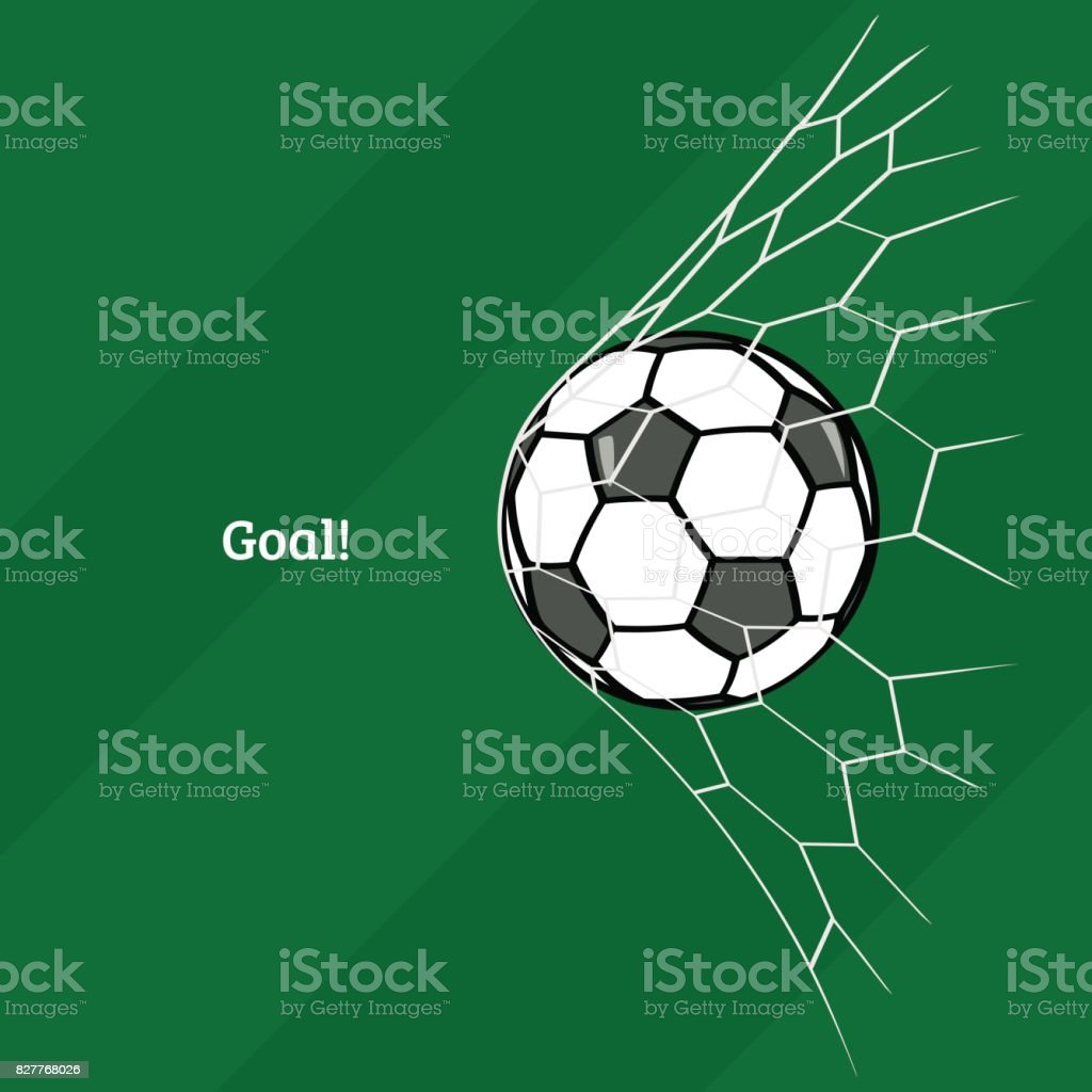 Soccer ball in net. vector art illustration