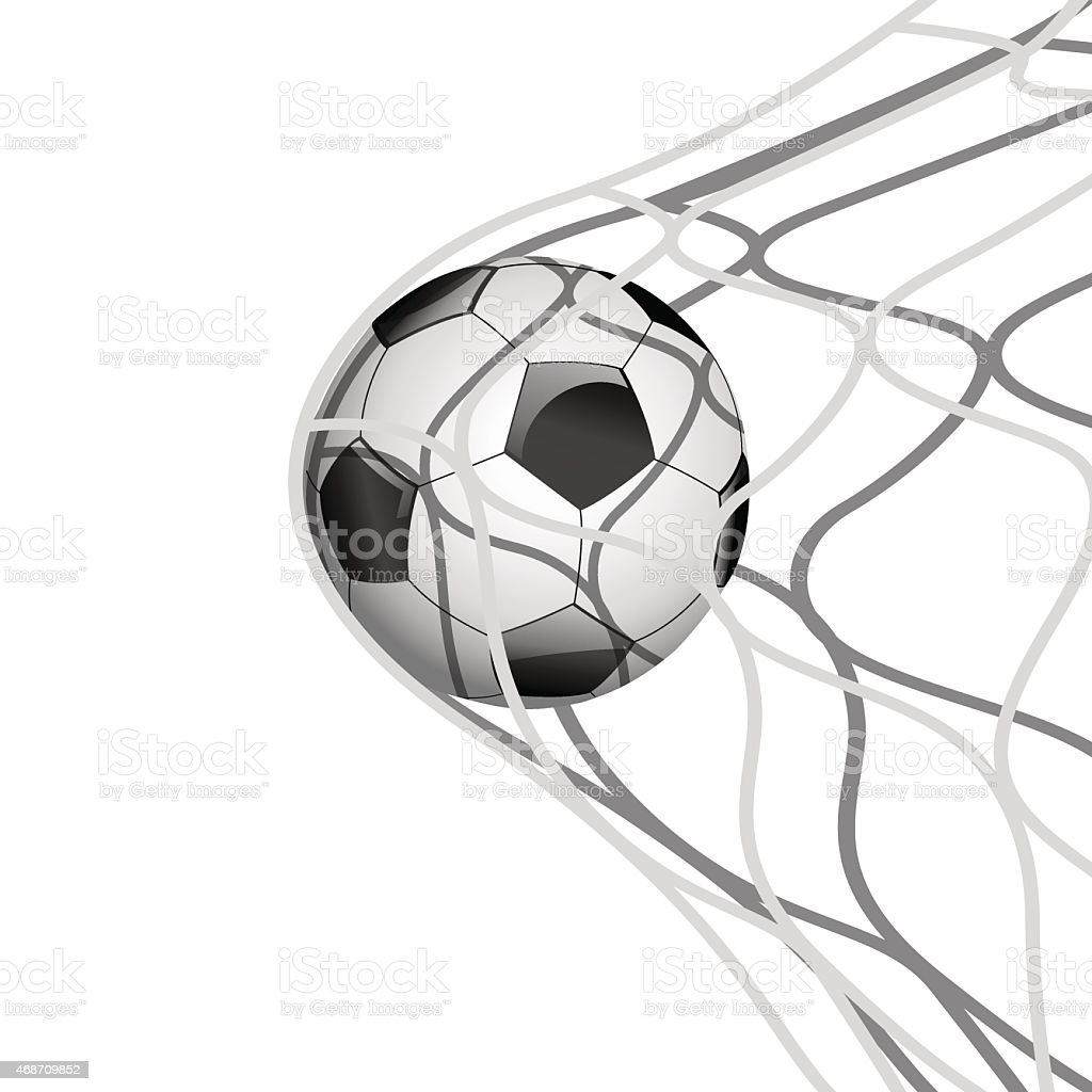 Soccer ball in net.Vector vector art illustration