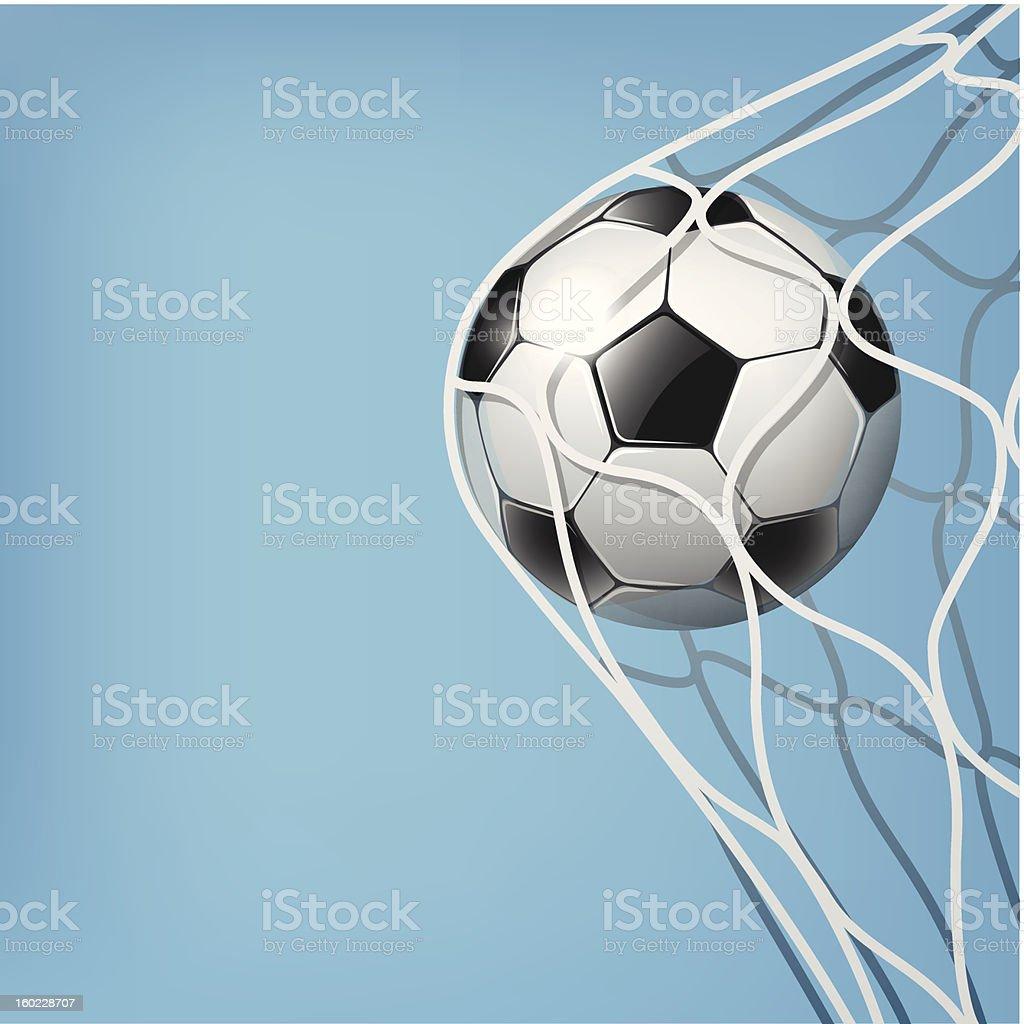Pallone Da Calcio In Lobiettivo Di Rete Su Sfondo Blu Immagini