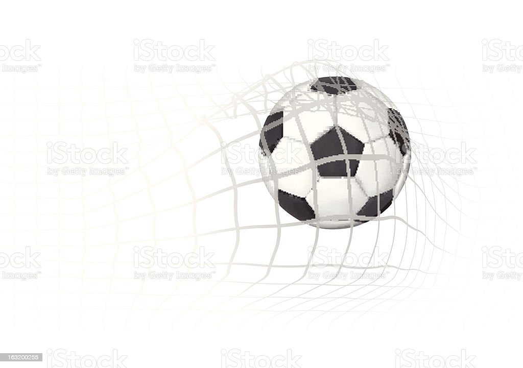 Soccer Ball in the goal net vector art illustration
