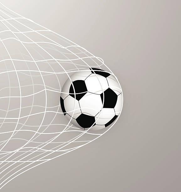 stockillustraties, clipart, cartoons en iconen met soccer ball in the net - soccer goal