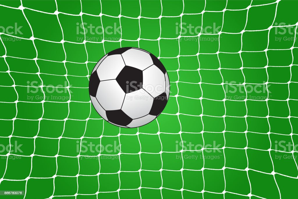 Soccer ball in the net vector art illustration