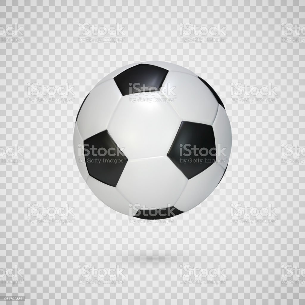 Soccer ball isolated on transparent background. Black and white classic leather football ball.  Vector illustration - Векторная графика Без людей роялти-фри