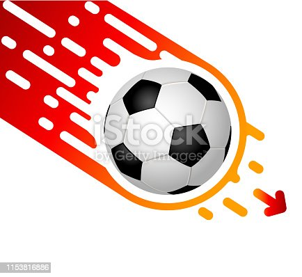 istock Soccer ball isolated on white background rapidly flies down.  Template design with blank space for text 1153816886
