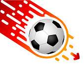 Soccer ball isolated on white background rapidly flies down.  Template design with blank space for text